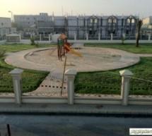 إنجاز العمل في حديقة مسجد الإمام الرضا (ع)